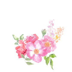Watercolor flower bouquet on white background, floral art, hand painted