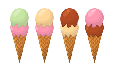 Set of Ice Cream Cartoon Icon. Summer Sundae Logo and Label for Ice Cream Shop. Vector Illustration