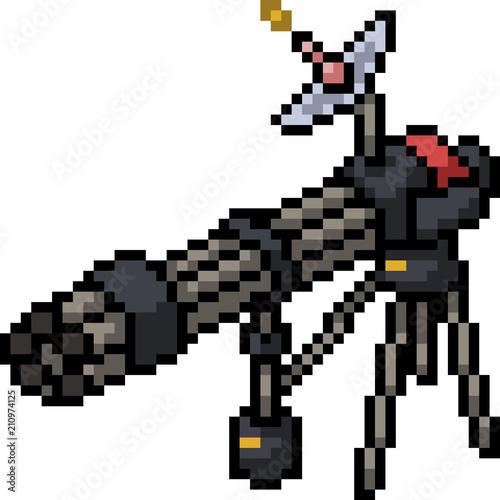 vector pixel art gatling gun