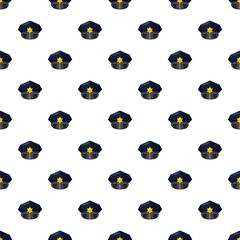 Police cap pattern seamless repeat in cartoon style vector illustration