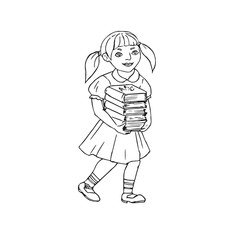 Girl going to school with books in hands, hand drawn doodle, sketch, vector outline illustration