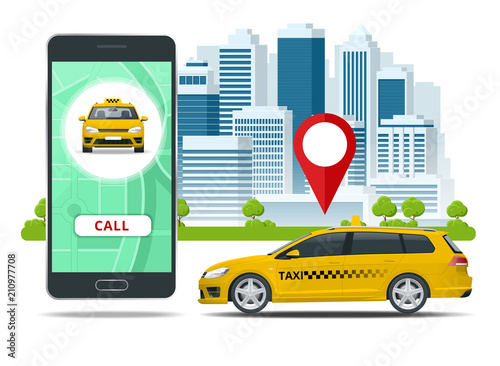 Yellow taxi cab and mobile application in phone with city