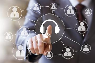 Wall Mural - Businessman hand press button support service in network internet