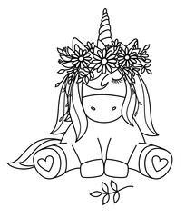 Vector cute sitting  unicorn  in wreath,  black silhouette  isolated on white for coloring.