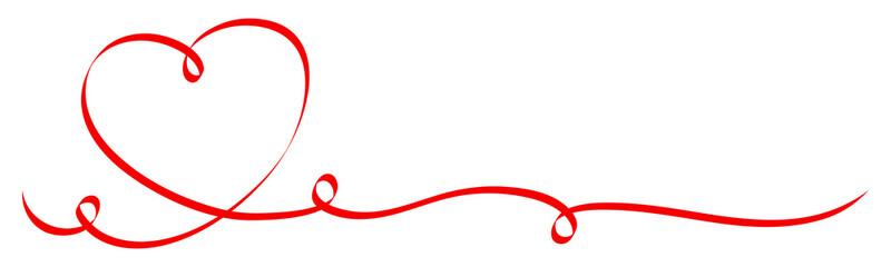 Red Heart Ribbon Calligraphy 3 Swirls