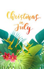 Christmas on the summer beach in July design with royal palm leaves and exotic flowers, vector illustration.