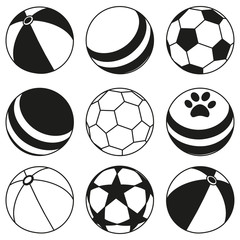 Black and white rubber ball silhouette set