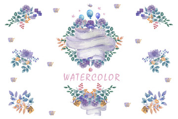Indigo watercolor flowers bouquet, ready frames floral set painting leafs design flowers for wedding, celebration, party on white background