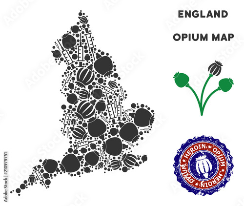 Map Of England Template.Opium Addiction England Map Mosaic Of Poppy Heads And Syringes
