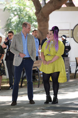 Britain's Prince William meets the 2018 Eurovision winner Netta Barzilai during a visit to Tel Aviv