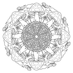 Mushroom Mandala vector Vintage decorative elements.