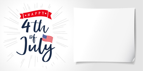 Happy 4th of July, Independence Day of USA lettering poster. Happy Independence Day United States of America vector calligraphic background. Fourth of July sale illustration