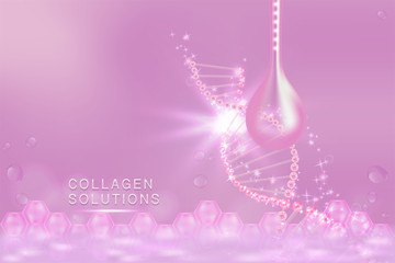Pink Collagen Serum drop, cosmetic advertising background ready to use, luxury skin care ad, Illustration vector.