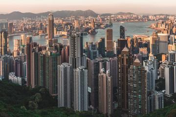Modern Hong Kong skyline view from Victoria Peak