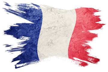 Grunge France flag. France flag with grunge texture. Brush stroke.