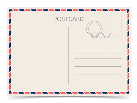 Postal card, travel postcard isolated on white background with shadow. Vector vintage illustration.  Mail with stamp. Eps 10