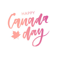 Canada Day Holiday Lettering Vector phrase Calligraphy color