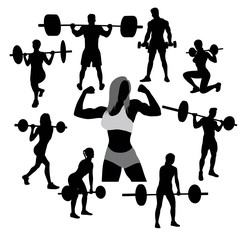 Dumbbell Exercises and Weightlifter Silhouettes, art vector design
