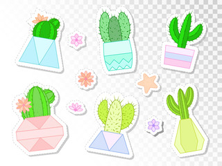 Vector set of stickers with cacti and succulents in flower pots.
