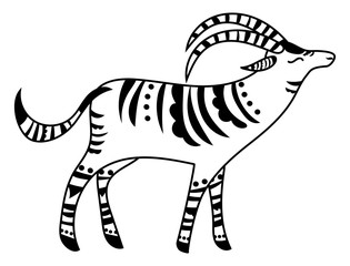 Vector illustration of a stylized antelope. Gazelle with Indian ornaments. Inhabitant of safari. An animal with patterns. Black and white linear art. Zoo. Drawing for children. Tattoo.