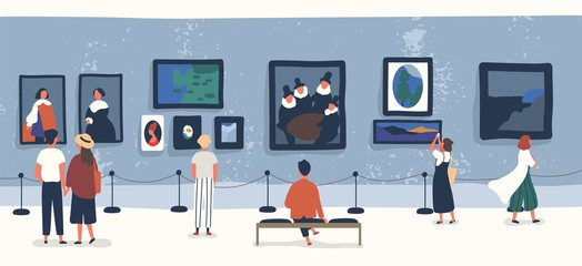 Visitors of classic art gallery or museum viewing exhibits. People or tourists looking at paintings at exhibition. Men and women enjoying artworks. Colorful vector illustration in flat cartoon style. Fototapete