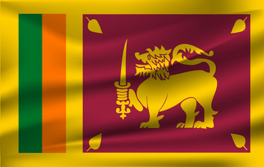 Flag of Sri Lanka waving in the wind on silk background