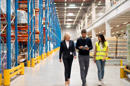 Managers visit warehouse