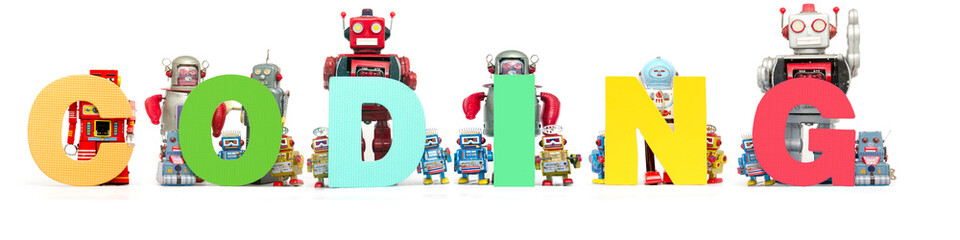retro tin robot toys hold up the word CODING 7