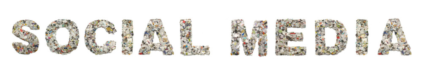 the word  SOCIAL MEDIA made from newspaper confetti