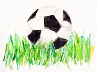 A drawing of a football (soccer) ball on the green grass isolated on white