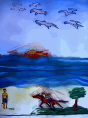Dessin imaginaire et naïf d'une femme à cheval, d'un homme en maillot de bain sur la plage, devant l'océan et les rochers. Des mouettes dans le ciel.