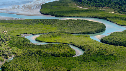 Beautiful Aerial view of river, Bissagos Archipelago (Bijagos), Guinea Bissau.  UNESCO Biosphere Reserve Wall mural