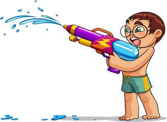 kid playing water gun vector illustration
