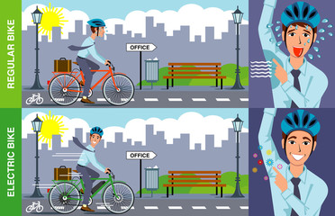 vector illustration of man sweating with exertion on regular bike versus cool, rested man using electric bike to commute to work