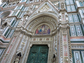 Italy, Toscana, Florence. Architectural detail of Cathedral Santa Maria del Fiore