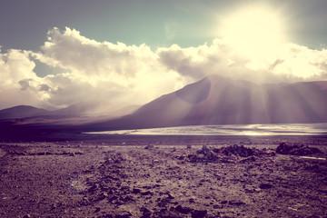 Sunset on laguna colorada in sud Lipez Altiplano reserva, Bolivia