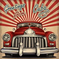 Vintage touristic greeting card with retro car.Cuba.