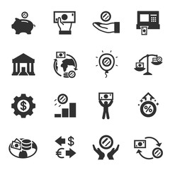 Economy, monochrome icons set. finance and currency exchange, simple symbols collection