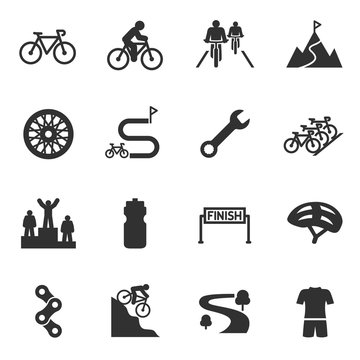 Bicycle riding, cycling monochrome icons set. Bike and attributes, simple symbols collection