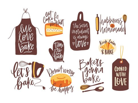 Bundle of lettering written with calligraphic font and decorated with kitchenware for baking and baked food. Set of inscriptions and tools for homemade pastry preparation. Vector illustration.
