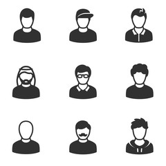 Avatars of men, monochrome icons set.