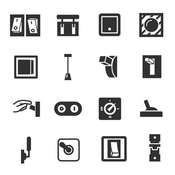 Switches, monochrome icons set. Switch, simple symbols collection