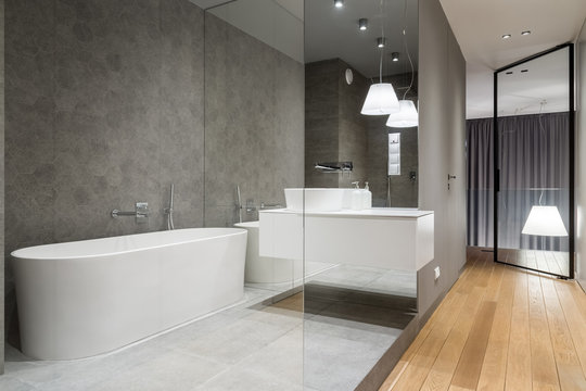 Luxury bathroom with hexagon tile