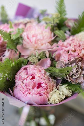Work florist beautiful spring bouquet arrangement with mix flowers beautiful spring bouquet arrangement with mix flowers the concept of a mightylinksfo