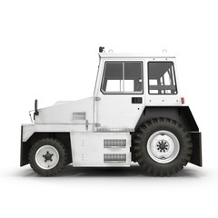 Diesel Aircraft Tow Tractor on white. Side view. 3D illustration