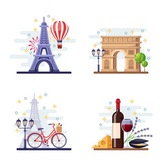 Travel to Paris vector flat illustration. City symbols, landmarks and food. France icons and design elements