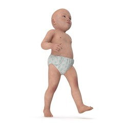 Asian baby boy on white. 3D illustration