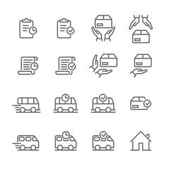 Order delivery vector logistics web shop line icon