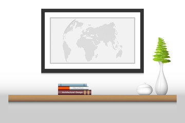 Interior decoration shelf and photo frame, Vector design, Illustration