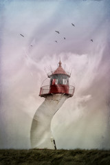Lighthouse, twisted by wind, surreal